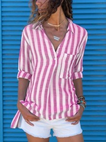 Pink Gingham Pockets Band Collar Long Sleeve Fashion Blouses