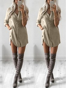 Khaki Single Breasted Irregular Bodycon Ttrendy Going out Blouse
