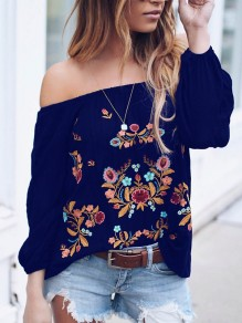 Navy Blue Gypsy Floral Embroidery Print Off Shoulder Long Sleeve Mexico Fashion Blouse