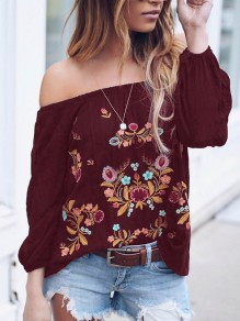 Red Gypsy Floral Embroidery Print Off Shoulder Long Sleeve Mexico Fashion Blouse