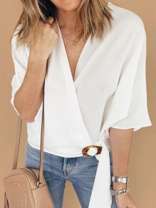 White Buckles Going out Sweet Comfy V-neck Elbow Sleeve Blouse