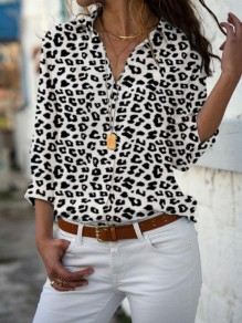 White Leopard Print Single Breasted V-neck Long Sleeve Blouse