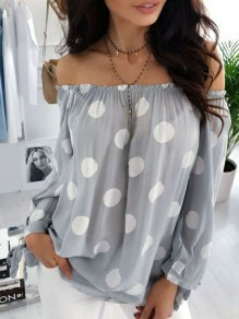 Grey Polka Dot Draped Chiffon Boat Neck Long Sleeve Going out Blouse
