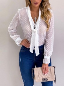 White Patchwork Buttons Belt Long Sleeve Fashion Chiffon Blouse
