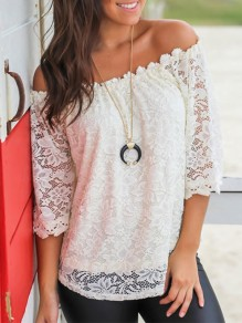 White Patchwork Lace Boat Neck 3/4 Sleeve Fashion Blouse