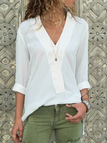 White Irregular V-neck Long Sleeve Slit Chiffon Fashion Casual Blouse