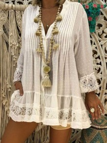 White Patchwork Lace Pleated V-neck Long Sleeve Blouse