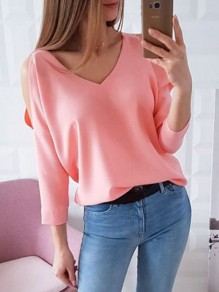 Pink Cut Out V-neck 3/4 Sleeve Fashion Blouse