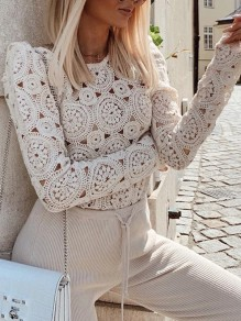 Beige Patchwork Lace Cut Out Round Neck Long Sleeve Elegant Blouse