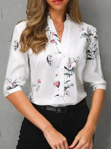 White Floral Single Breasted V-neck Half Sleeve Fashion Blouse