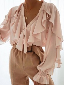 Pink Cascading Ruffle Buttons V-neck Long Sleeve Fashion Blouse