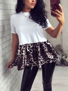 White Round Neck Short Sleeve Patchwork Leopard Peplum Tutu Ruched Work Casual Cute Blouse