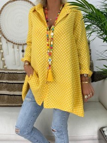 Yellow Polka Dot Single Breasted V-neck Long Sleeve Oversize Blouse