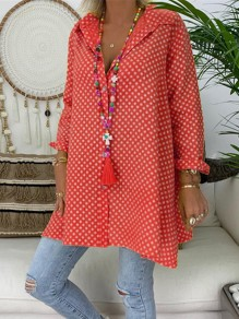 Red Polka Dot Single Breasted V-neck Long Sleeve Oversize Blouse