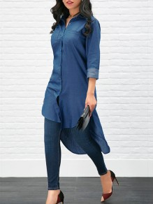 Dark Blue Single Breasted Pockets Long Sleeve High-low Jeans Blouse