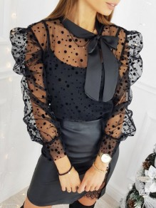 Black Polka Dot Bow Grenadine Long Sleeve Elegant Blouse