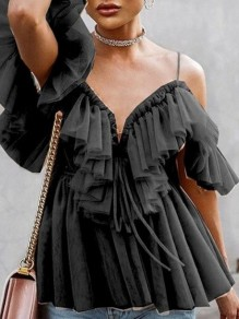 Black Grenadine Ruffle Spaghetti Strap Backless V-neck Elegant Blouse