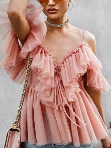 Pink Grenadine Ruffle Spaghetti Strap Backless V-neck Elegant Blouse
