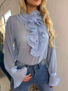 Blue Ruffle Single Breasted Long Sleeve Fashion Blouse