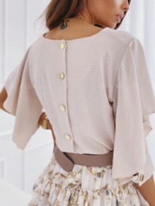 Beige Buttons Ruffle Cut Out V-neck Half Sleeve Fashion Blouse