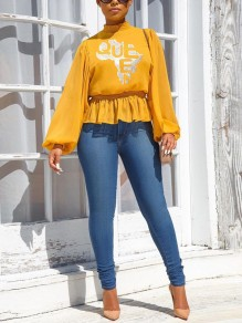 Yellow Floral Ruffle Long Sleeve Party Blouse