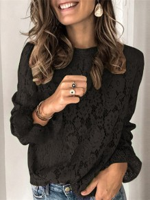 Black Patchwork Lace Round Neck Long Sleeve Blouse