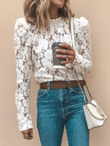 White Patchwork Lace Band Collar Long Sleeve Fashion Blouse
