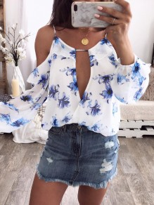 White Blue Floral Cut Out Long Sleeve Fashion Blouse