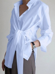 Blue Patchwork Belt Turndown Collar Long Sleeve Fashion Blouse