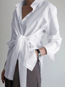 White Patchwork Belt Turndown Collar Long Sleeve Fashion Elegant Work Blouse