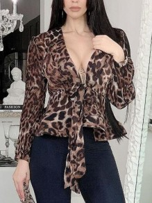 Brown Leopard Pattern Sashes Peplum Lantern Sleeve Deep V-neck Office Worker Blouse