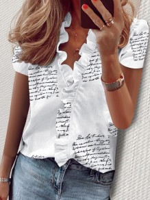 White Monogram Ruffle V-neck Short Sleeve Fashion Blouse