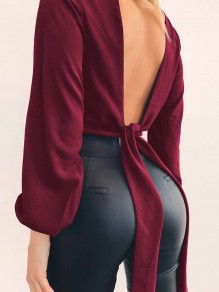 Wine Red Backless Bow V-neck Long Sleeve Elegant Blouse