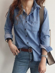 Blue Patchwork Pockets Buttons Turndown Collar Long Sleeve Denim Blouse