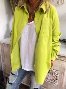 Yellow Single Breasted Pockets Turndown Collar Long Sleeve Blouse