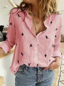 Pink Animal V-neck Long Sleeve Casual Going Out Blouse