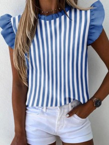 Blue White Striped Print Ruffle Round Neck Short Sleeve Blouse