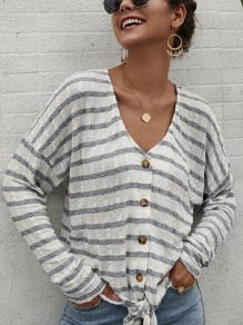 Grey Striped Print Buttons Bow V-neck Long Sleeve Blouse