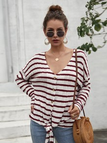 Date Red Striped Print Buttons Bow V-neck Long Sleeve Blouse
