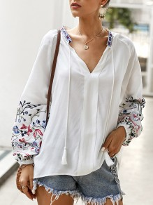 White Patchwork Embroidery Tassel V-neck Long Sleeve Bohemian Blouse