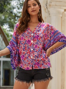 Red Floral Buttons V-neck Flare Sleeve Bohemian Blouse
