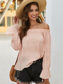 Pink Pleated Off Shoulder Long Sleeve Fashion Blouse