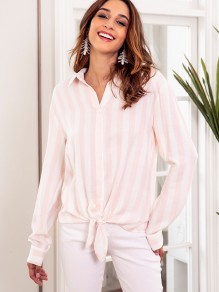 Pink White Striped Single Breasted Bow Long Sleeve Fashion Blouse