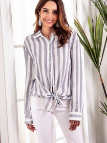 Blue White Striped Single Breasted Bow Long Sleeve Fashion Blouse