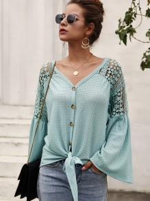Blue Patchwork Lace Buttons Bow Flare Sleeve Blouse