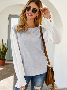 Grey Patchwork Ruffle Round Neck Long Sleeve Fashion Blouse