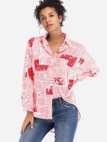 Red Monogram Single Breasted Long Sleeve Fashion Blouse