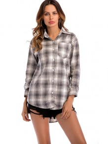 Grey Plaid Pockets Single Breasted Turndown Collar Long Sleeve Blouse