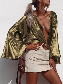 Golden Sequin Print Deep V-neck Flare Long Sleeve Glitter Sparkly Birthday Party Blouse