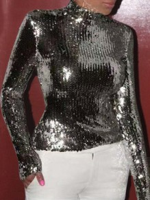 Black Sequin High Neck Long Sleeve Glitter Sparkly Birthday Party NYE Blouse